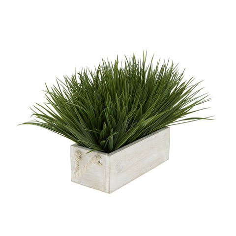 "Artificial Green Farm Grass in 9"" Washed Wood Trough with Rope Handles"