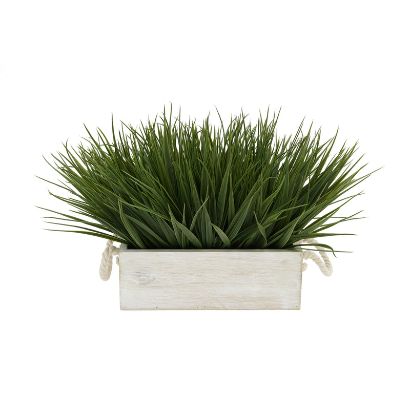 "Artificial Green Farm Grass in 9"" White-Washed Wood Trough with Rope Handles"