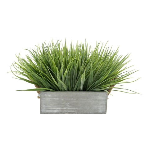 "Artificial Frosted Farm Grass in 9"" Washed Wood Trough with Rope Handles"