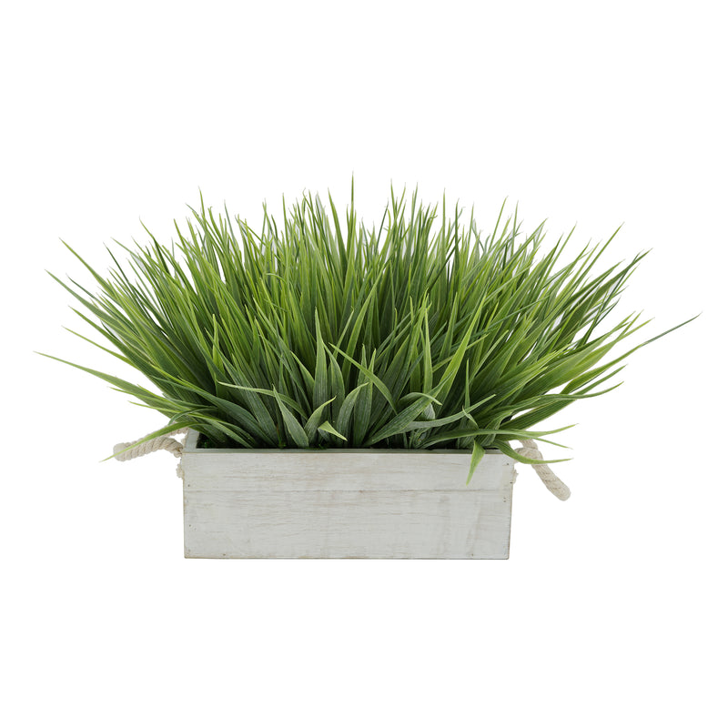 "Artificial Frosted Farm Grass in 9"" White-Washed Wood Trough with Rope Handles"