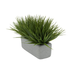 "Artificial Green Farm Grass in 11"" Grey Sandy Texture Ceramic"