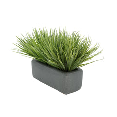"Artificial Frosted Farm Grass in 11"" Grey Sandy Texture Ceramic"