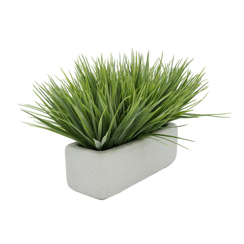 "Artificial Frosted Farm Grass in 11"" Sandy Texture Ceramic"
