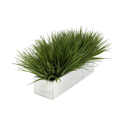 "Artificial Green Farm Grass in 15"" Washed Wood Trough"