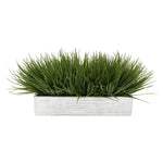 "Artificial Green Farm Grass in 15"" Grey Washed Wood Trough"