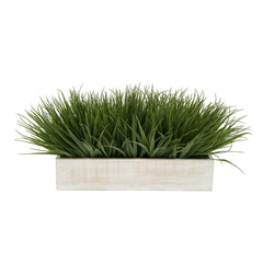 "Artificial Green Farm Grass in 15"" White Washed Wood Trough"