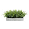 "Artificial Frosted Farm Grass in 15"" Grey Washed Wood Trough House of Silk Flowers®"