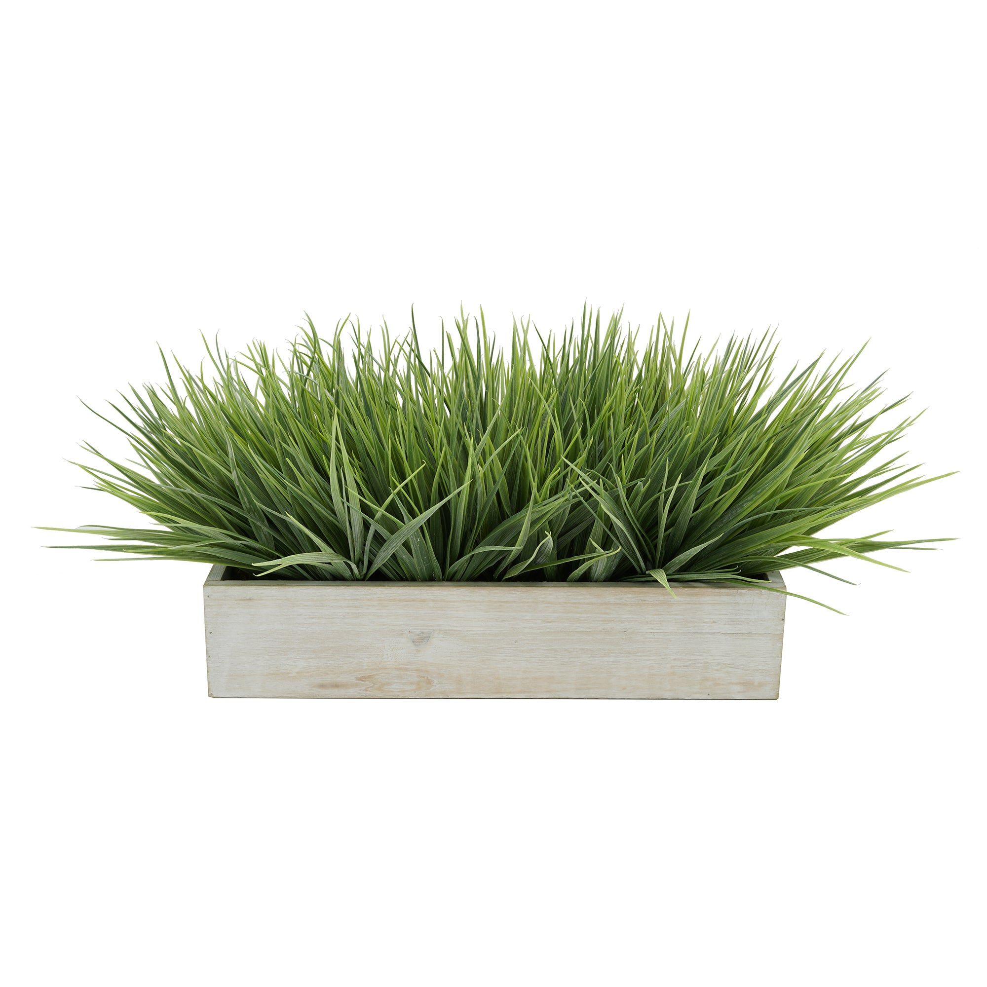 "Artificial Frosted Farm Grass in 15"" Washed Wood Trough"