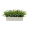 "Artificial Frosted Farm Grass in 15"" White Washed Wood Trough House of Silk Flowers®"