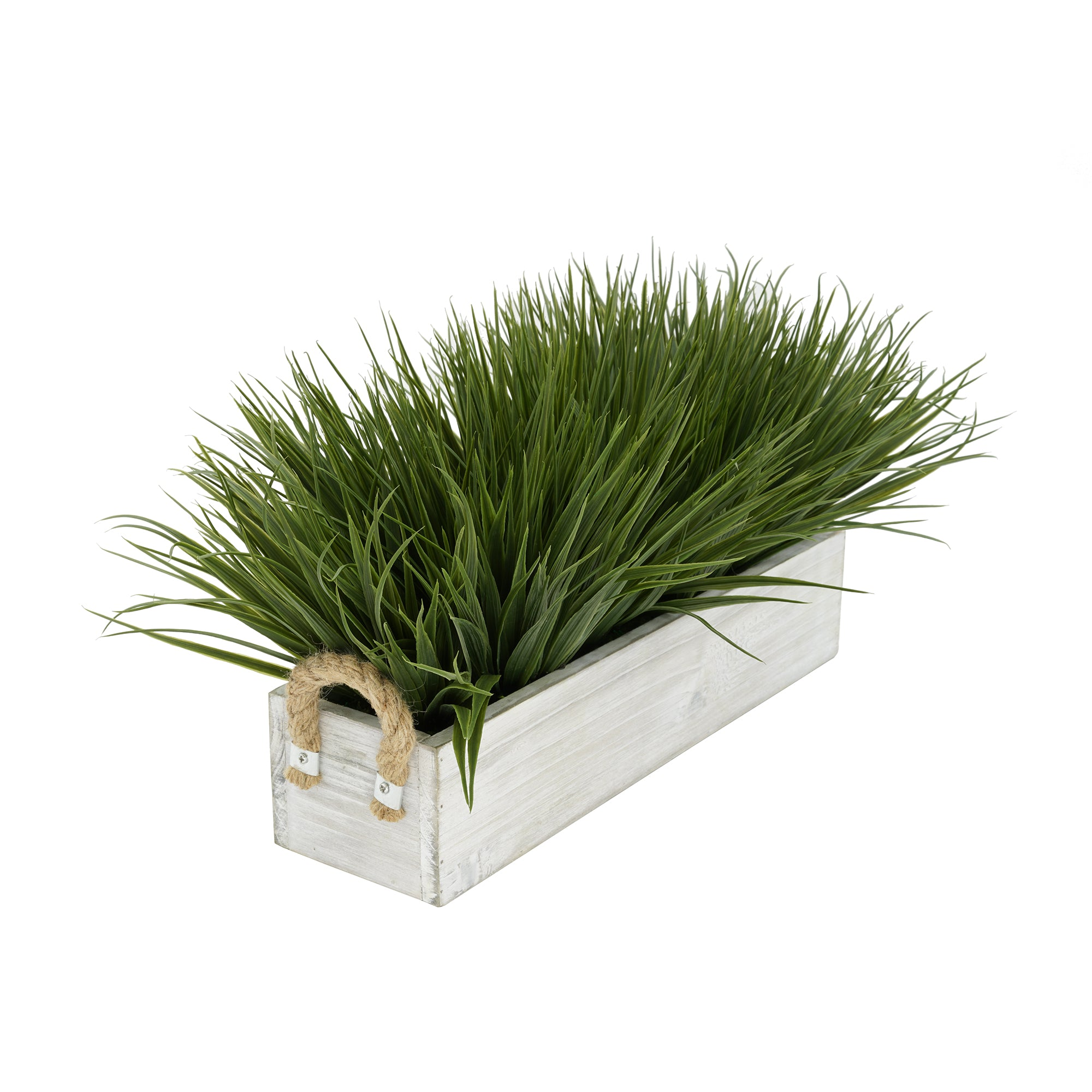 "Artificial Green Farm Grass in 15"" Washed Wood Trough with Rope Handles"