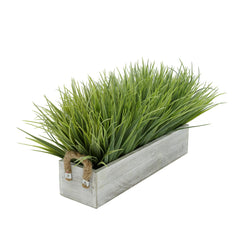 "Artificial Frosted Farm Grass in 15"" Grey-Washed Wood Trough with Rope Handles"