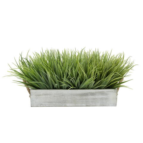 "Artificial Frosted Farm Grass in 15"" Washed Wood Trough with Rope Handles"