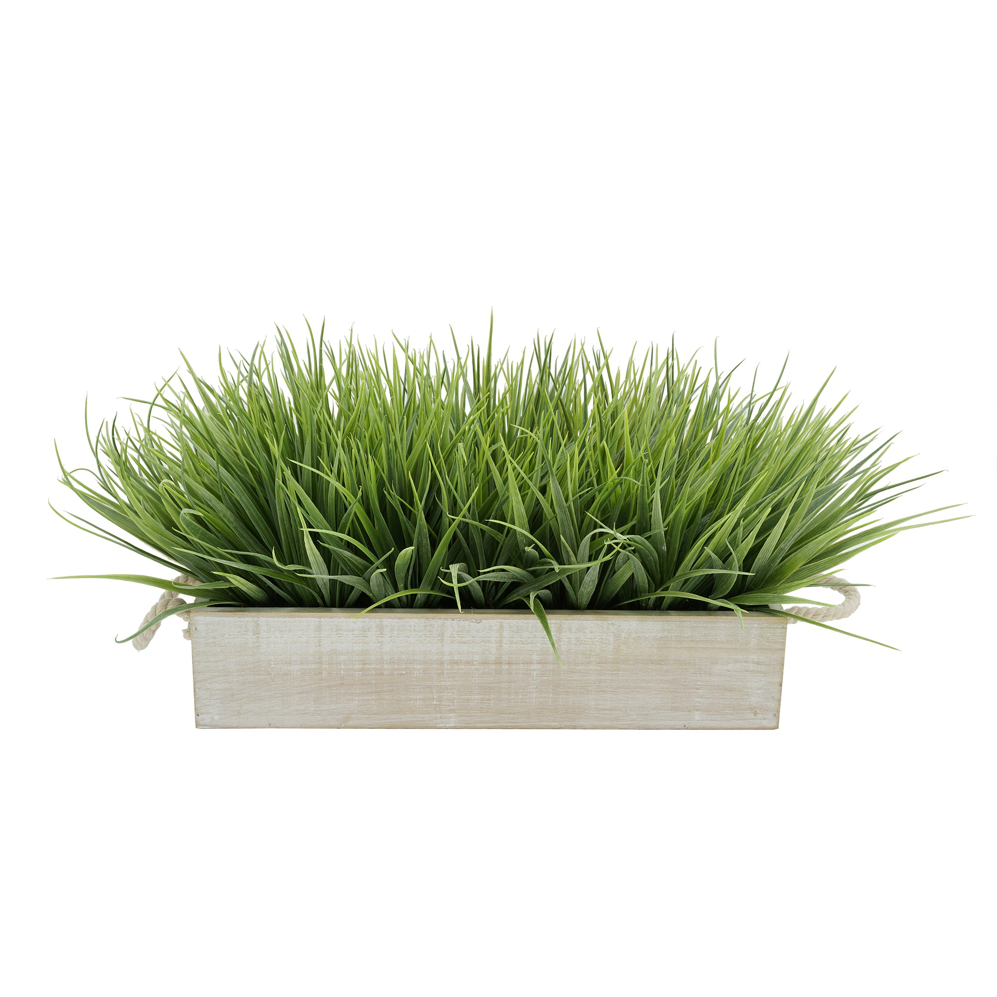 "Artificial Frosted Farm Grass in 15"" White-Washed Wood Trough with Rope Handles"