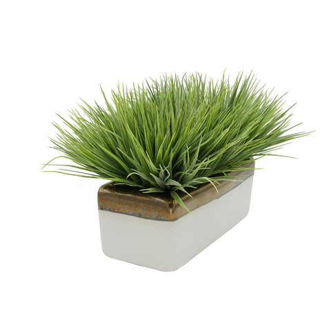 "Artificial Frosted Farm Grass in 14"" Ceramic"