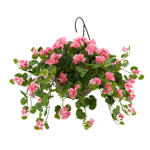 Artificial Pink Geranium in Handle Hanging Basket