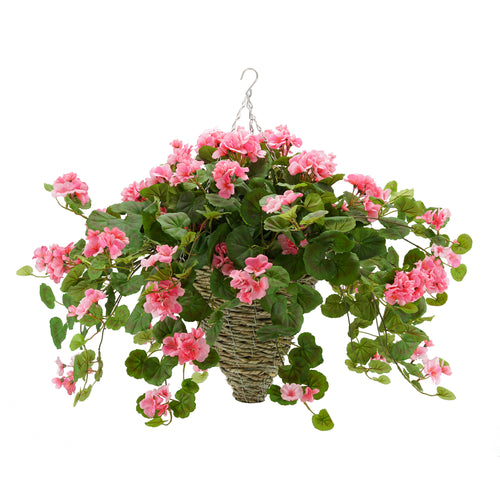 Artificial Pink Geranium in Hanging Basket
