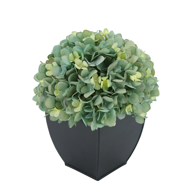 Artificial Teal Hydrangea in Black Tapered Zinc Cube House of Silk Flowers®