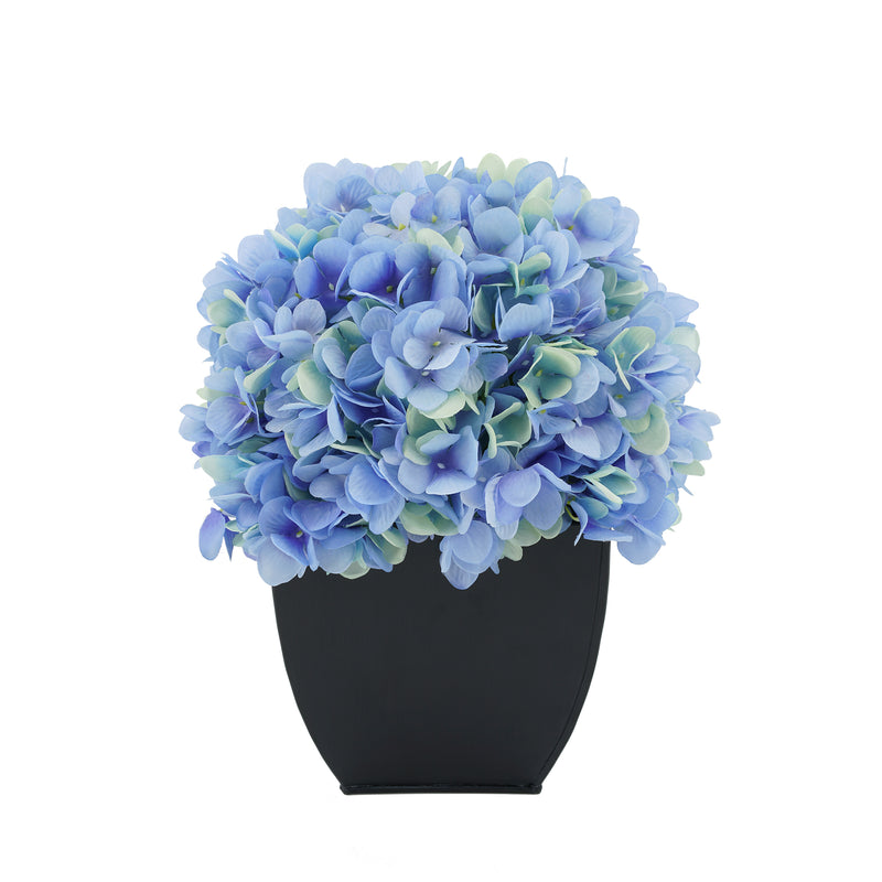 Artificial Blue Hydrangea in Black Tapered Zinc Cube House of Silk Flowers®