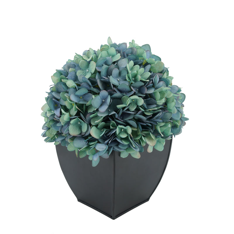Artificial Antique Aqua Hydrangea in Black Tapered Zinc Cube House of Silk Flowers®