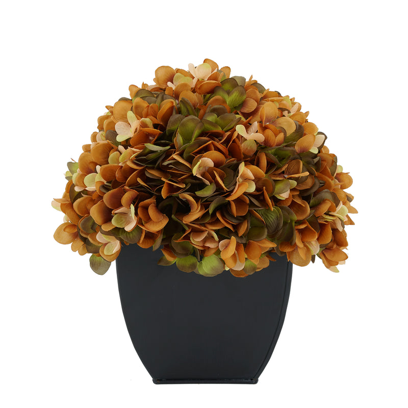 Artificial Coffee Hydrangea in Black Tapered Zinc Cube House of Silk Flowers®
