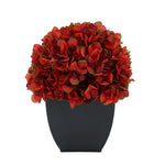 Artificial Burgundy Hydrangea in Black Tapered Zinc Cube House of Silk Flowers®