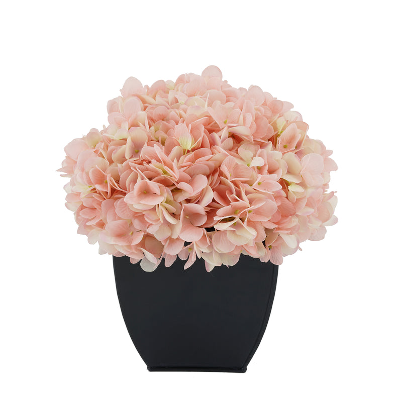 Artificial Pink Hydrangea in Black Tapered Zinc Cube House of Silk Flowers®