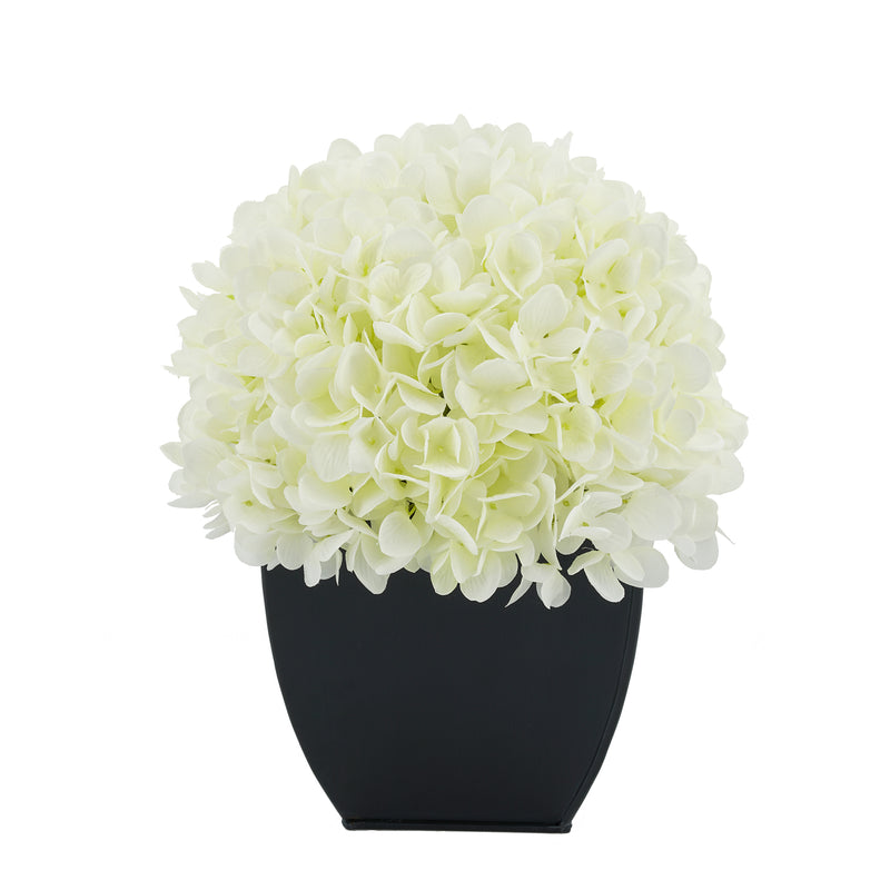 Artificial White Hydrangea in Black Tapered Zinc Cube House of Silk Flowers®