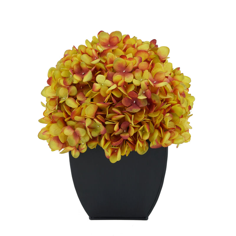 Artificial Gold Hydrangea in Black Tapered Zinc Cube House of Silk Flowers®