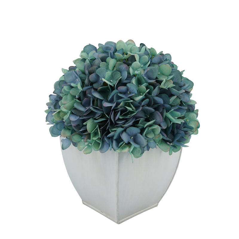 Artificial Antique Aqua Hydrangea in Cream Tapered Zinc Cube