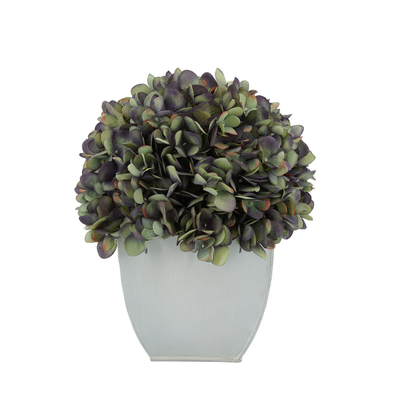 Artificial Antique Purple Hydrangea in Cream Tapered Zinc Cube