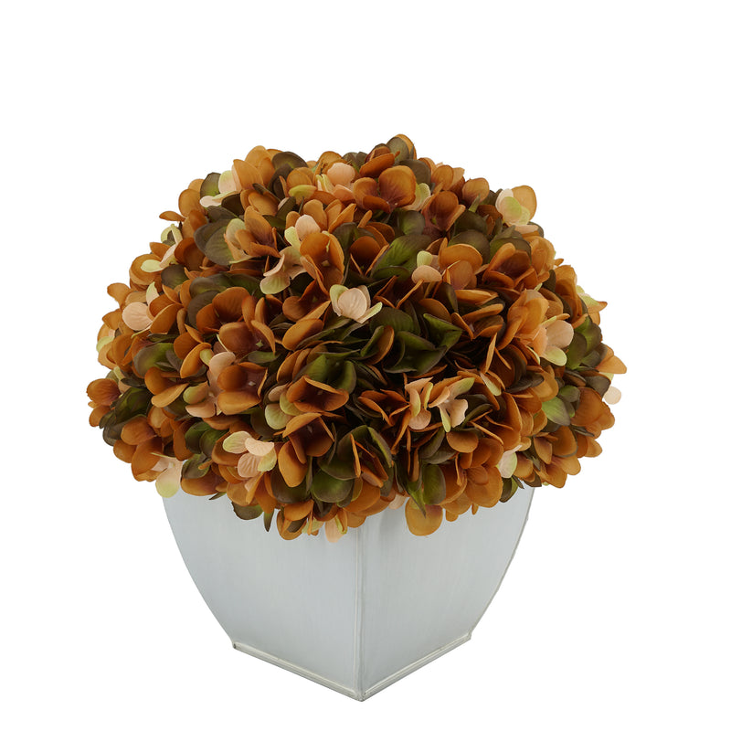 Artificial Coffee Hydrangea in Cream Tapered Zinc Cube