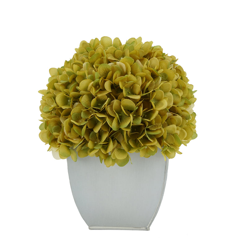 Artificial Sage Hydrangea in Cream Tapered Zinc Cube