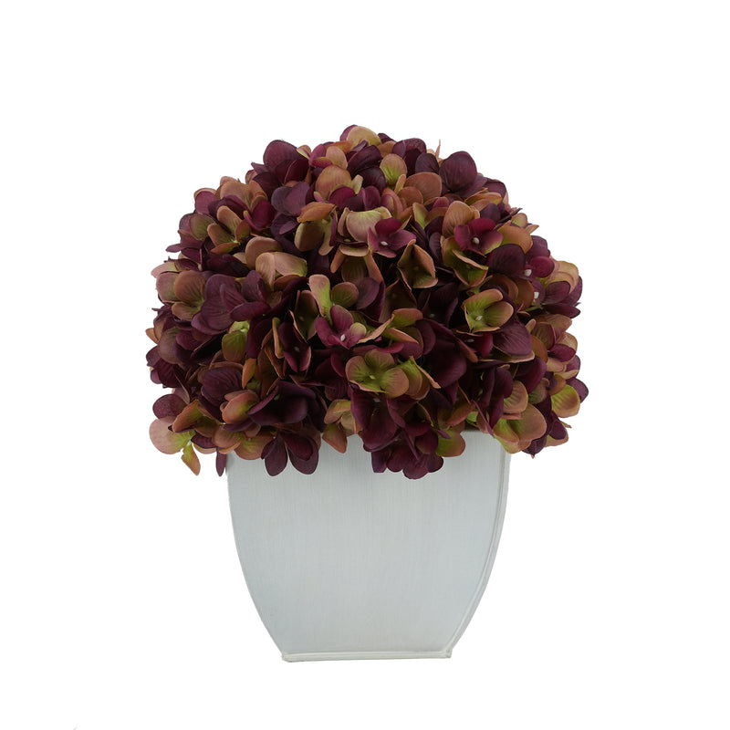 Artificial Plum Hydrangea in Cream Tapered Zinc Cube