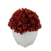 Artificial Burgundy Hydrangea in Cream Tapered Zinc Cube