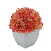 Artificial Coral Hydrangea in Cream Tapered Zinc Cube