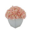 Artificial Hydrangea in Cream Tapered Zinc Cube Pink