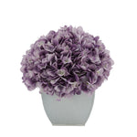 Artificial Hydrangea in Cream Tapered Zinc Cube Lavender