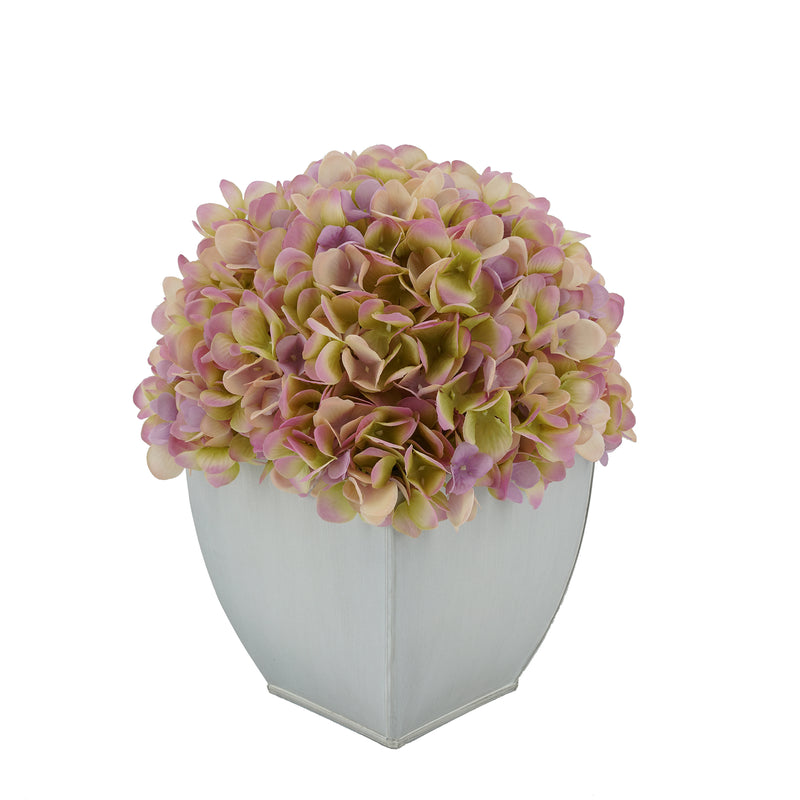 Artificial Hydrangea in Cream Tapered Zinc Cube Lilac
