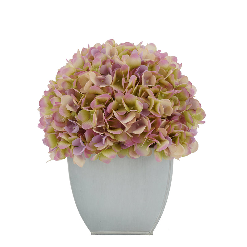 Artificial Hydrangea in Cream Tapered Zinc Cube Lialc