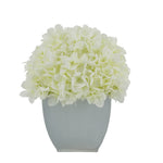 Artificial Hydrangea in Cream Tapered Zinc Cube White