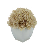 Artificial Hydrangea in Cream Tapered Zinc Cube Antique Ecru