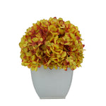 Artificial Hydrangea in Cream Tapered Zinc Cube Gold