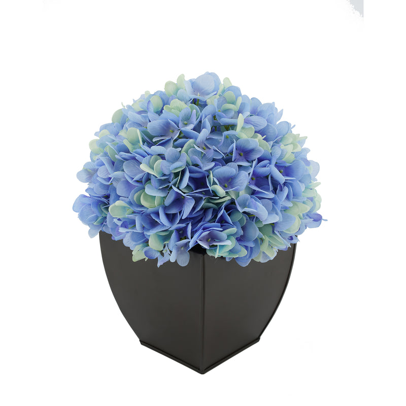 Artificial Hydrangea in Matte Brown Tapered Zinc Cube Blue