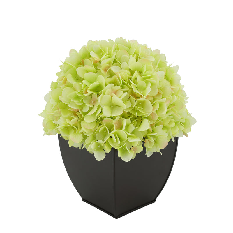 Artificial Hydrangea in Matte Brown Tapered Zinc Cube green