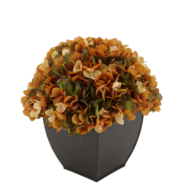 Artificial Hydrangea in Matte Brown Tapered Zinc Cube coffee