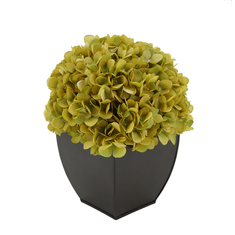 Artificial Hydrangea in Matte Brown Tapered Zinc Cube sage