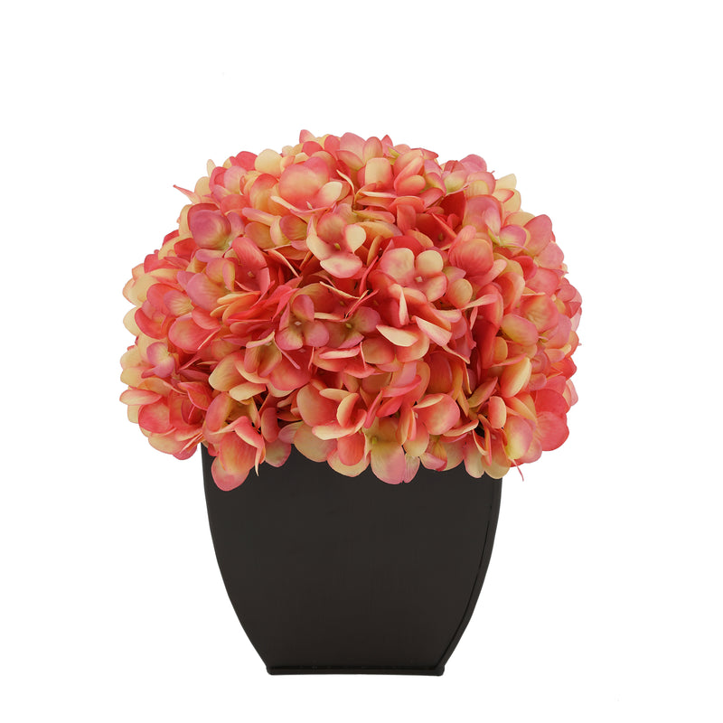 Artificial Hydrangea in Matte Brown Tapered Zinc Cube coral
