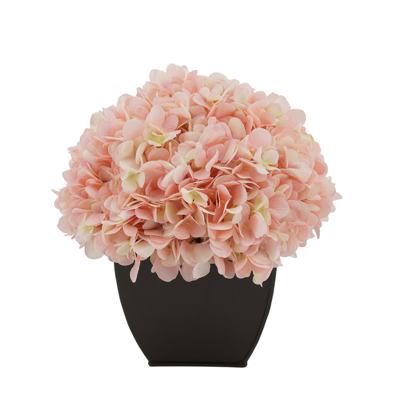 Artificial Hydrangea in Matte Brown Tapered Zinc Cube pink