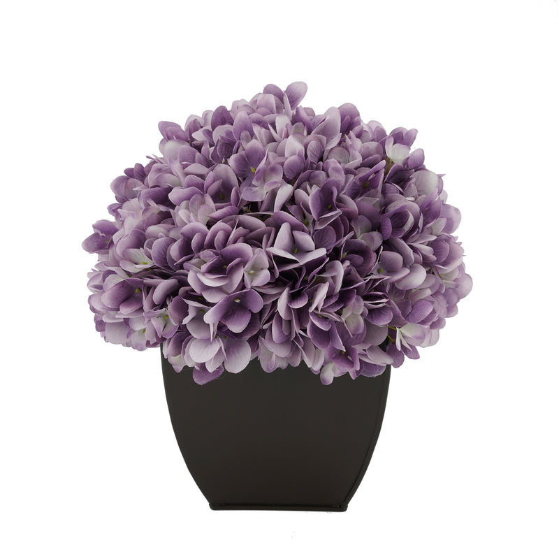 Artificial Hydrangea in Matte Brown Tapered Zinc Cube lavender
