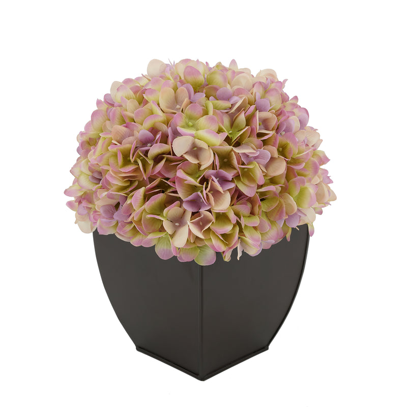 Artificial Hydrangea in Matte Brown Tapered Zinc Cube lilac